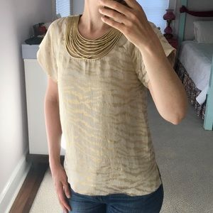 3.1 Philip Lim Silk Metallic Blouse Gold Necklace